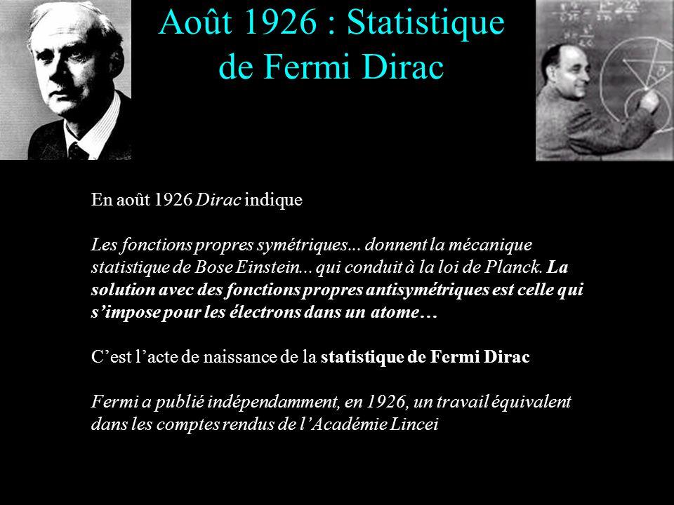Août 1926 : Statistique de Fermi Dirac