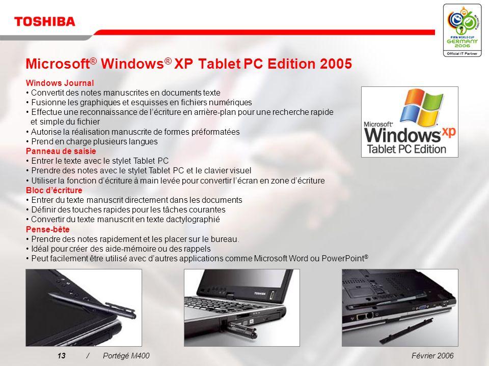Microsoft® Windows® XP Tablet PC Edition 2005