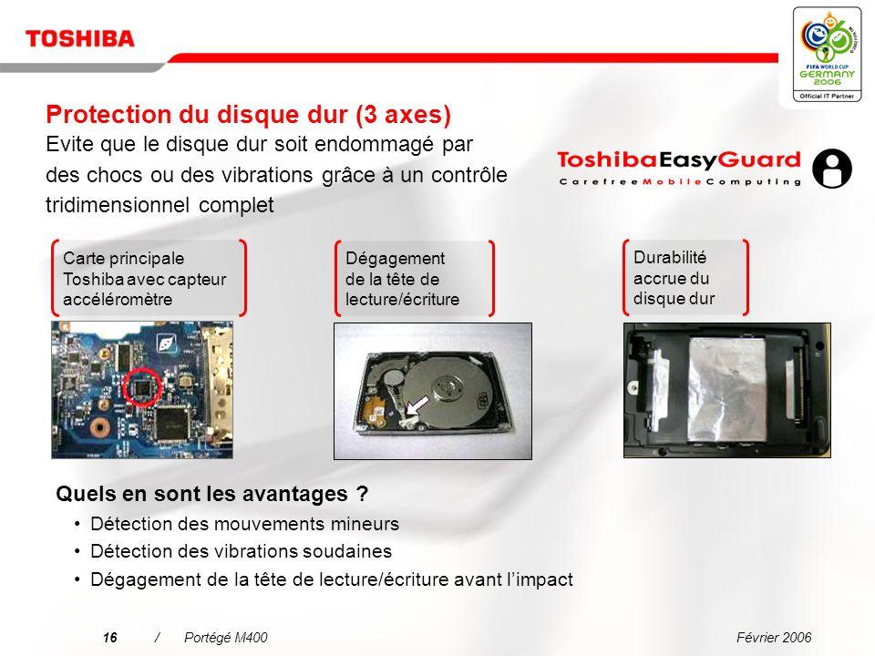 Protection du disque dur (3 axes) Evite que le disque dur soit endommagé par des chocs ou des vibrations grâce à un contrôle tridimensionnel complet