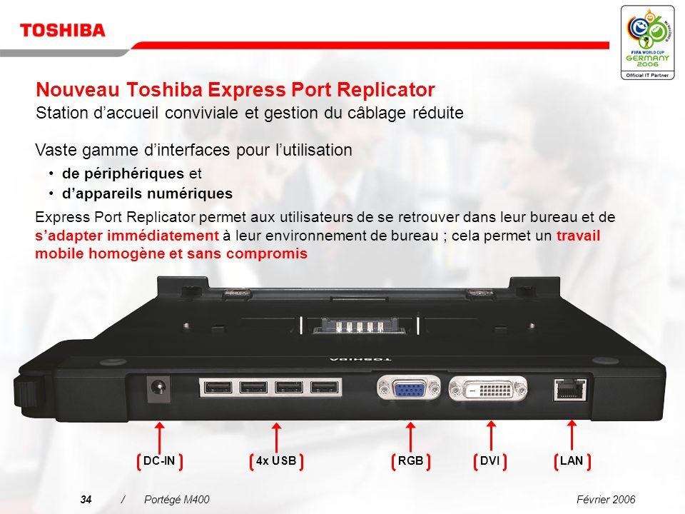 Nouveau Toshiba Express Port Replicator Station d'accueil conviviale et gestion du câblage réduite