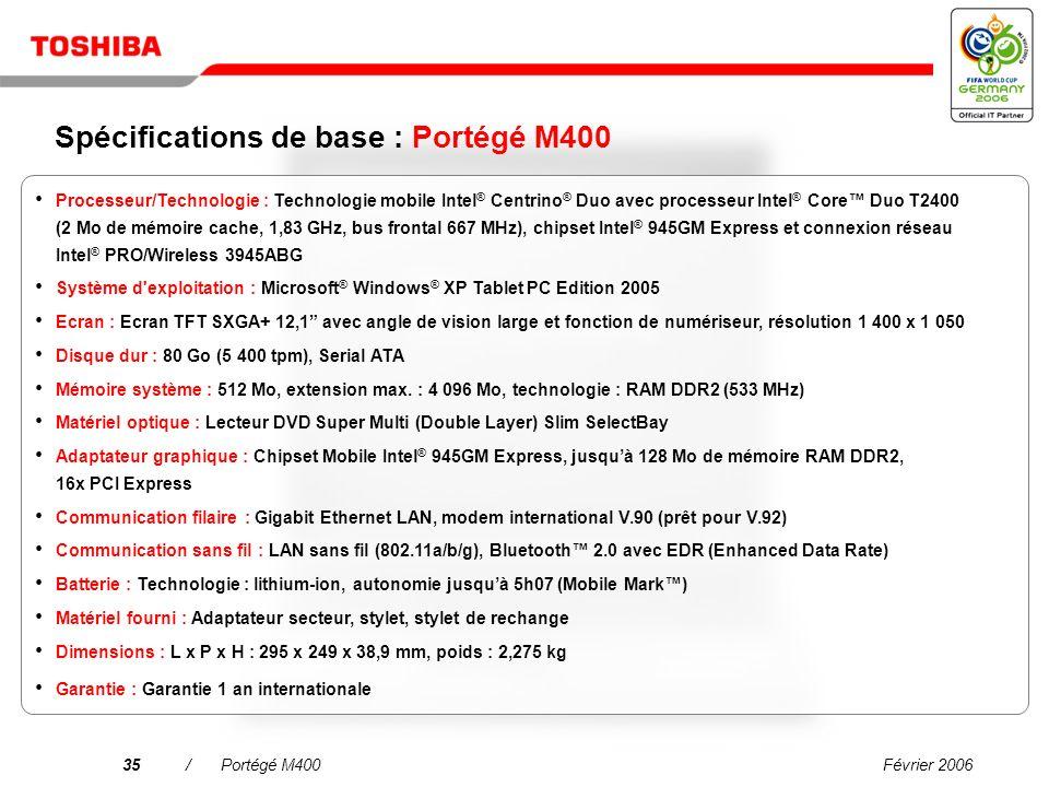 Spécifications de base : Portégé M400