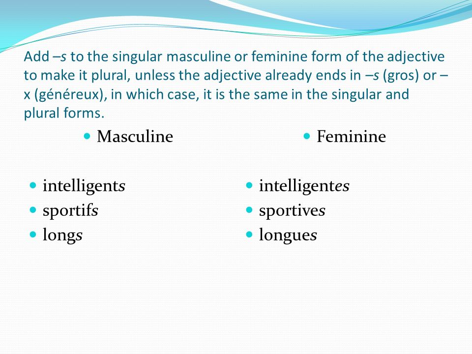 Masculine intelligents sportifs longs Feminine intelligentes sportives