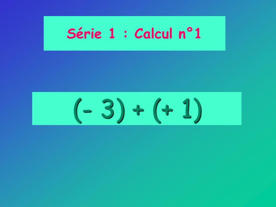 Série 1 : Calcul n°1 (- 3) + (+ 1)