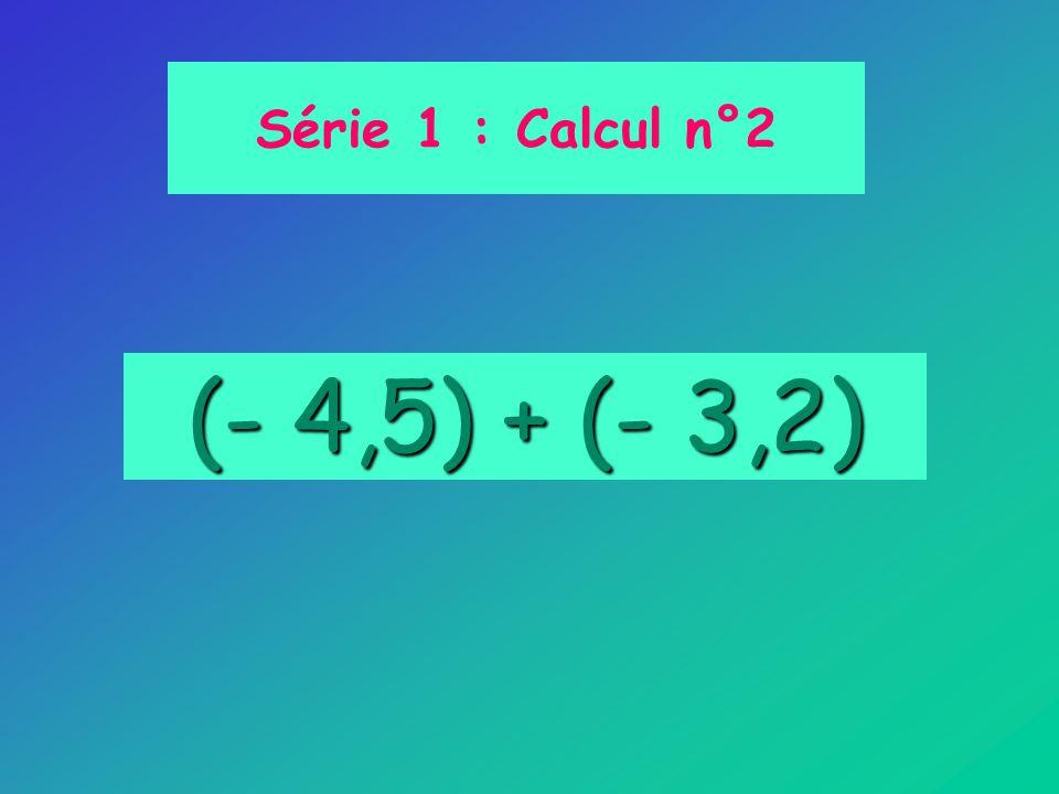 Série 1 : Calcul n°2 (- 4,5) + (- 3,2)