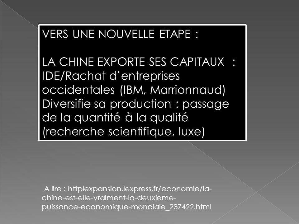 VERS UNE NOUVELLE ETAPE : LA CHINE EXPORTE SES CAPITAUX :