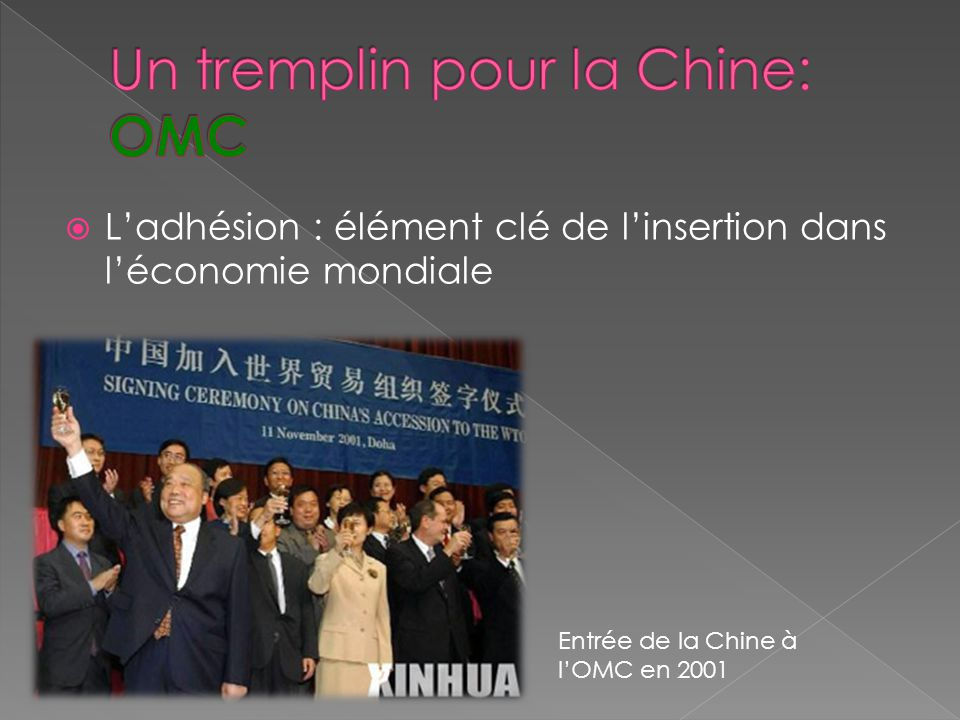 Un tremplin pour la Chine: OMC