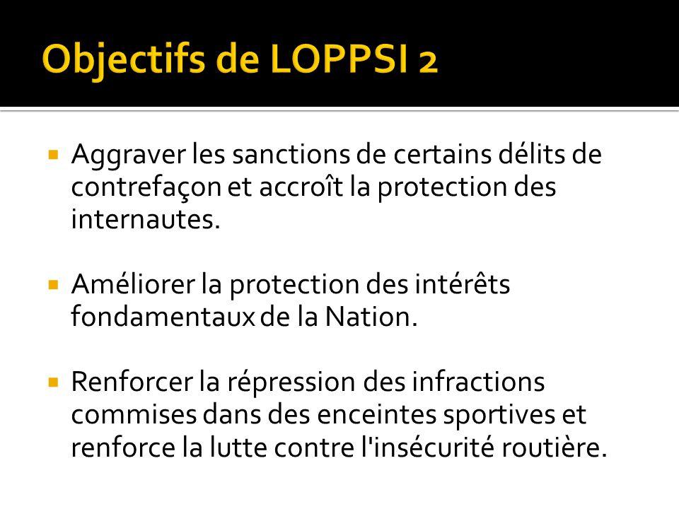 Objectifs de LOPPSI 2 Aggraver les sanctions de certains délits de contrefaçon et accroît la protection des internautes.