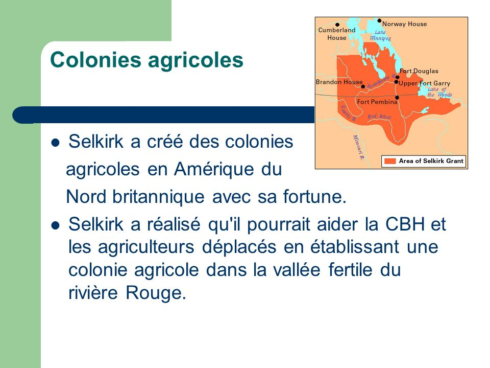 Colonies agricoles Selkirk a créé des colonies