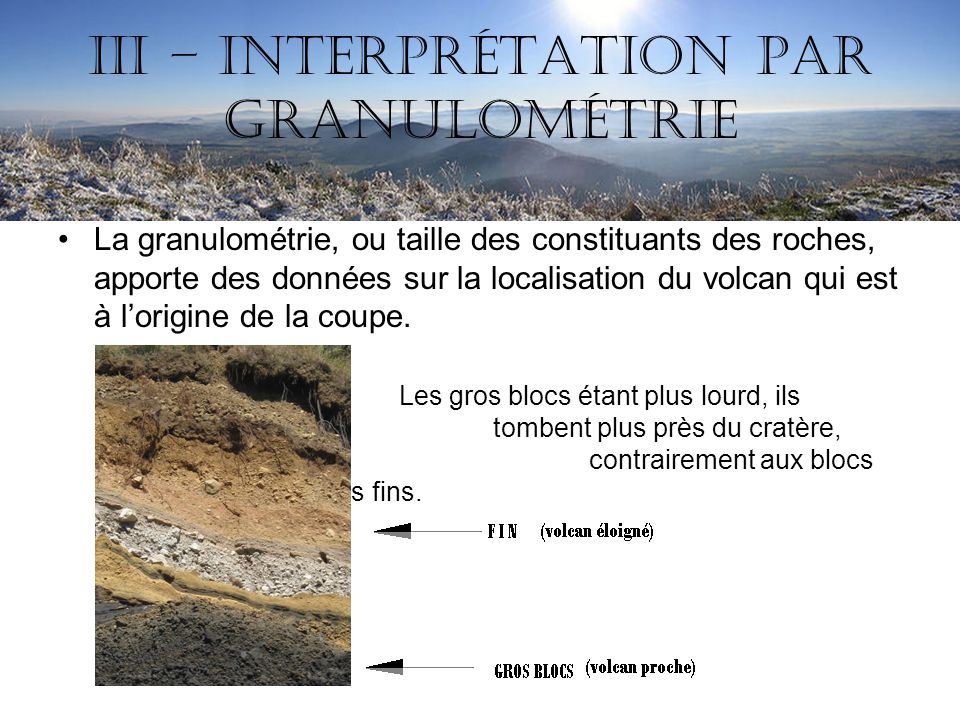 III – Interprétation par granulométrie