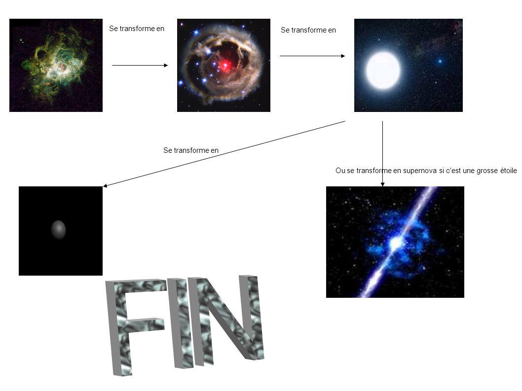 Ou se transforme en supernova si c est une grosse étoile