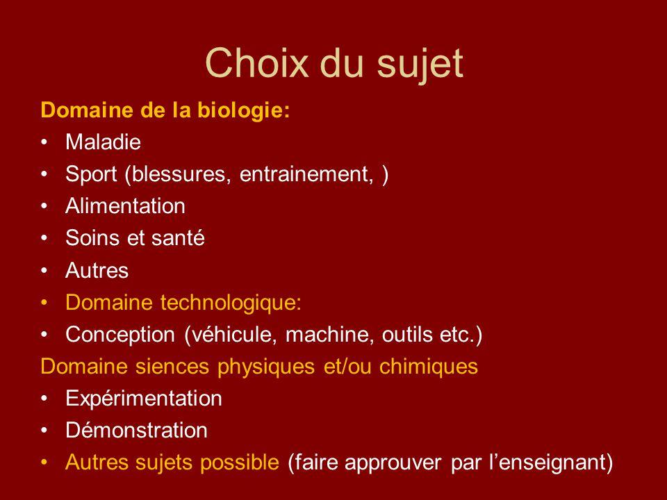 Choix du sujet Domaine de la biologie: Maladie