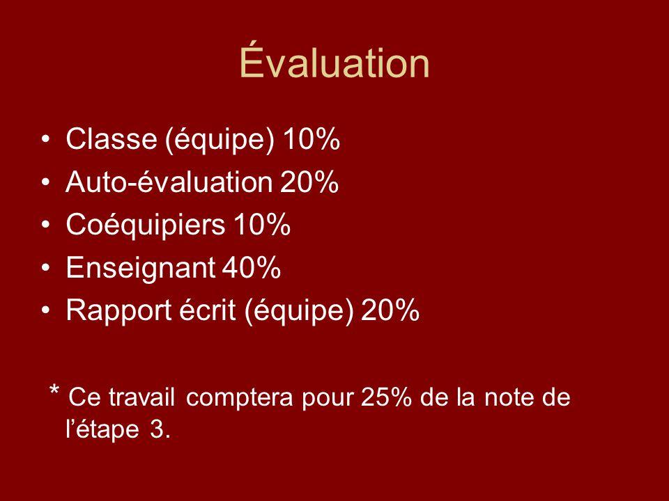 Évaluation Classe (équipe) 10% Auto-évaluation 20% Coéquipiers 10%