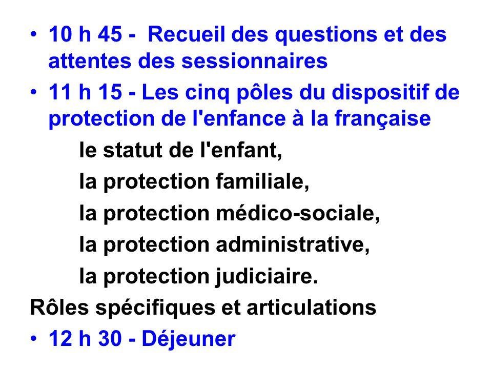 10 h 45 - Recueil des questions et des attentes des sessionnaires