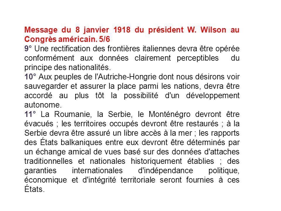 Message du 8 janvier 1918 du président W. Wilson au Congrès américain