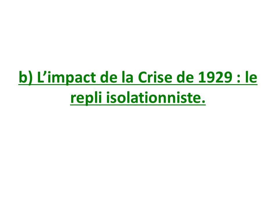 b) L'impact de la Crise de 1929 : le repli isolationniste.