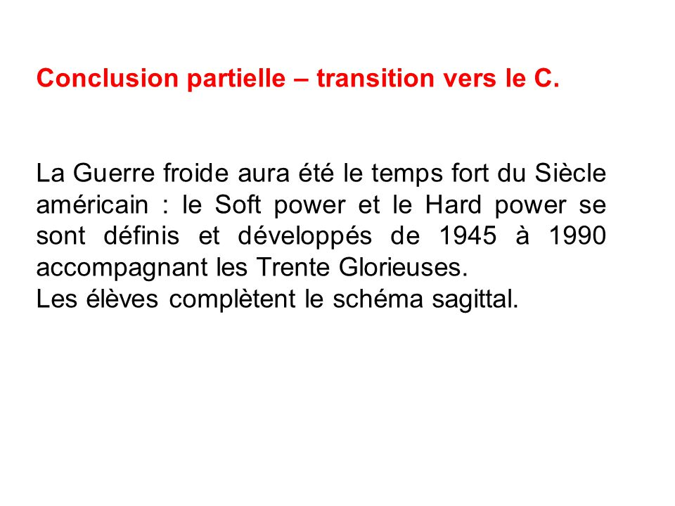 Conclusion partielle – transition vers le C.