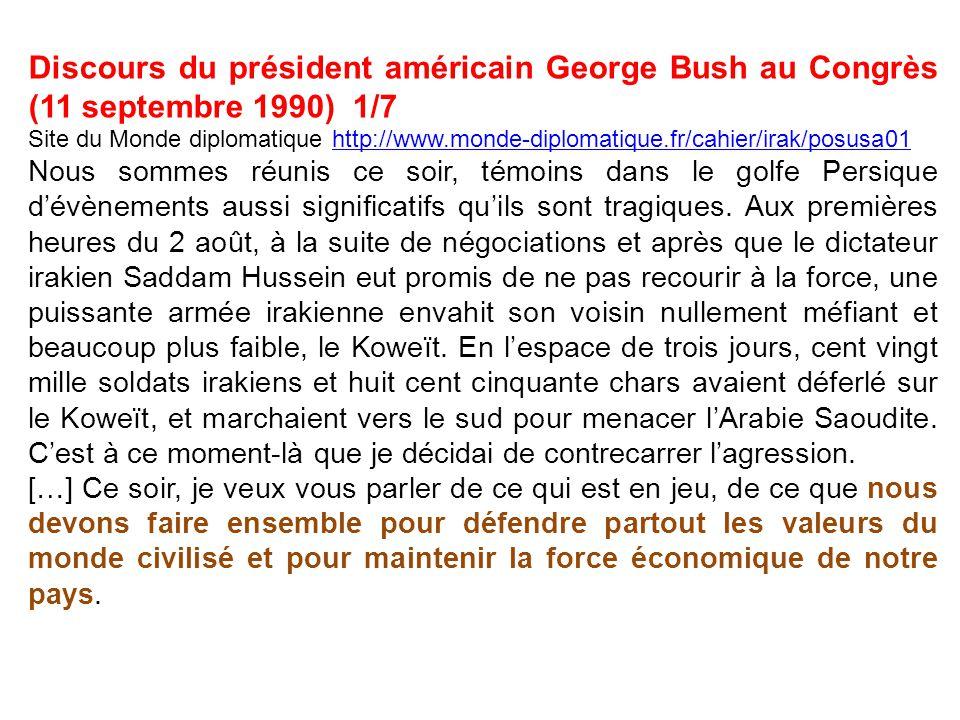 Discours du président américain George Bush au Congrès (11 septembre 1990) 1/7