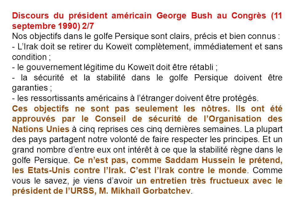 Discours du président américain George Bush au Congrès (11 septembre 1990) 2/7
