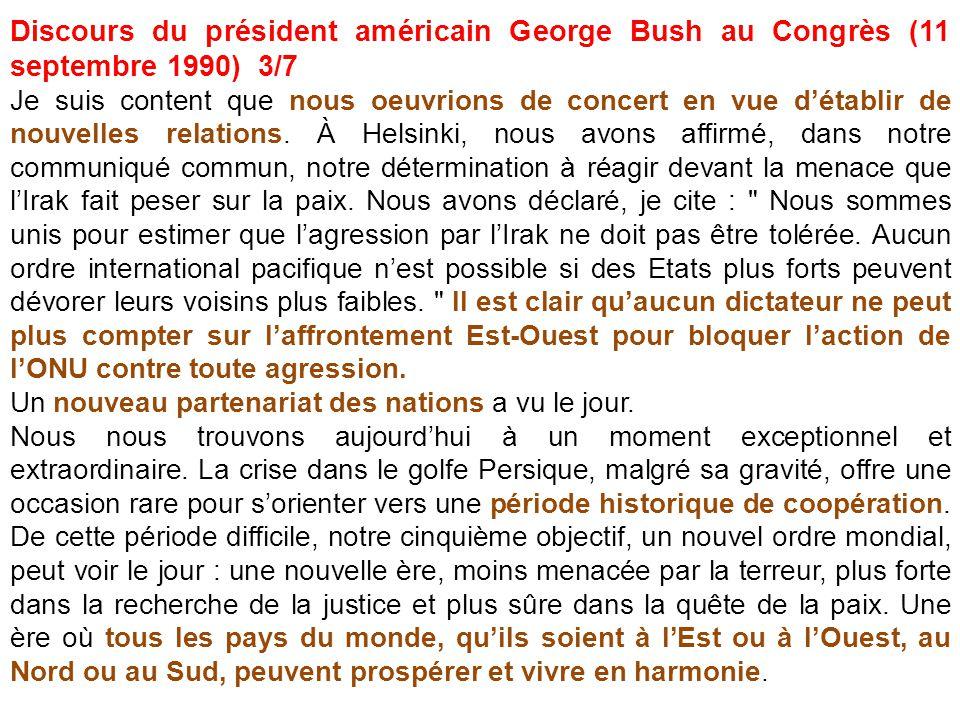 Discours du président américain George Bush au Congrès (11 septembre 1990) 3/7