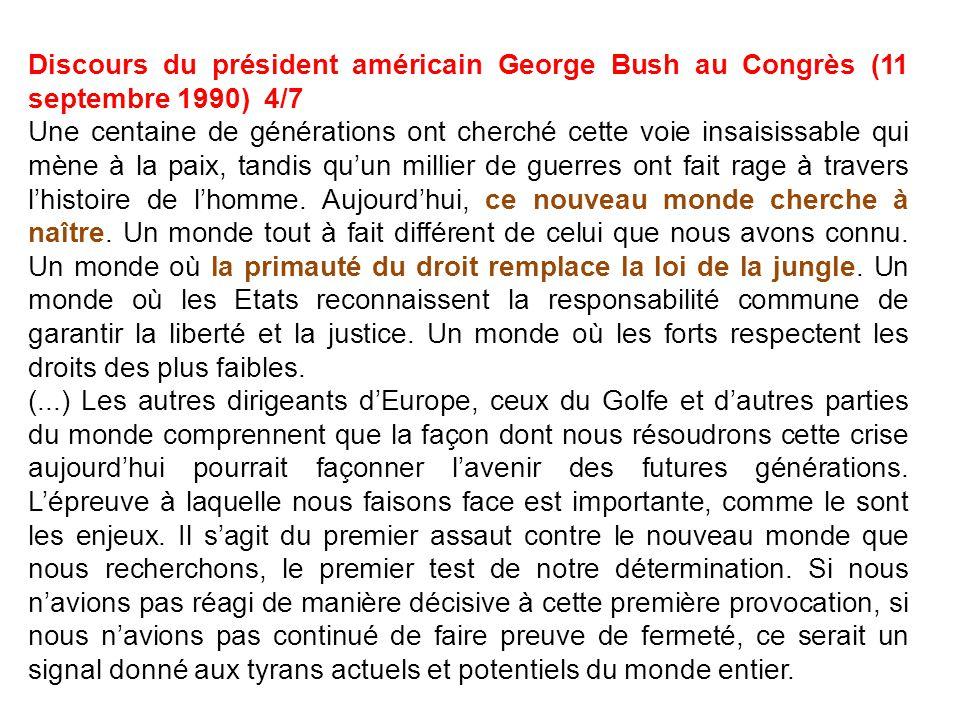 Discours du président américain George Bush au Congrès (11 septembre 1990) 4/7