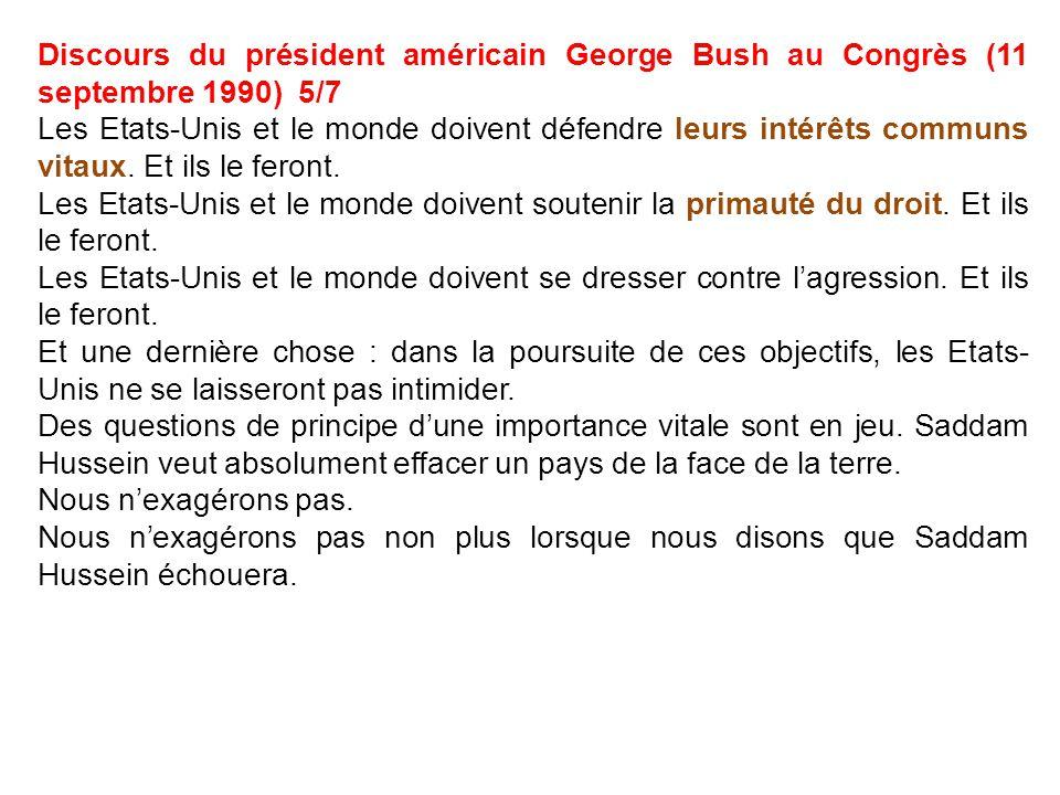 Discours du président américain George Bush au Congrès (11 septembre 1990) 5/7