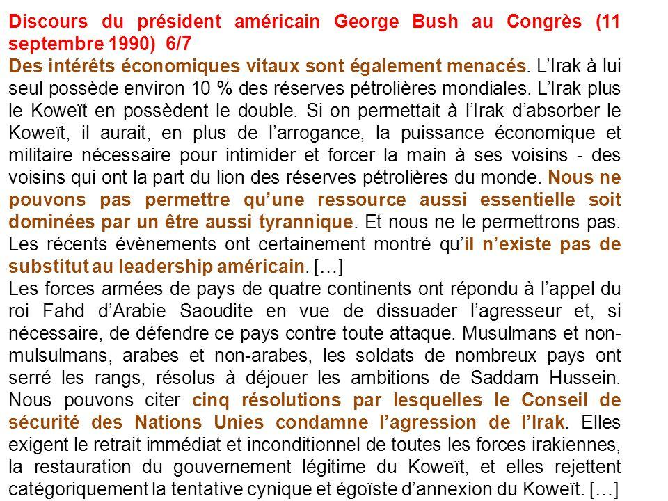 Discours du président américain George Bush au Congrès (11 septembre 1990) 6/7