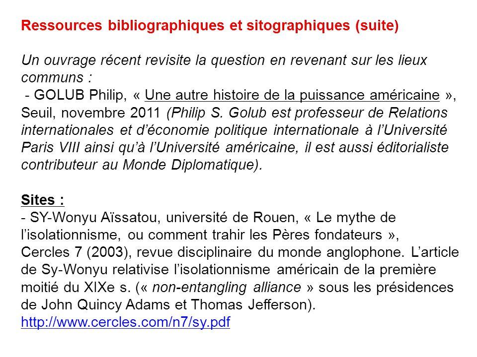 Ressources bibliographiques et sitographiques (suite)