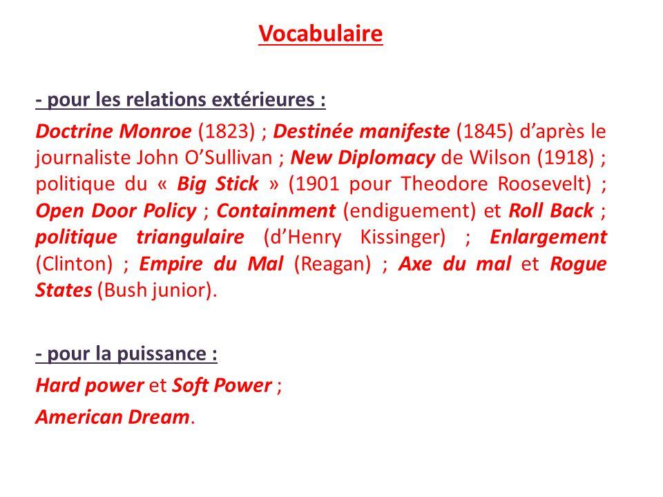Vocabulaire - pour les relations extérieures :