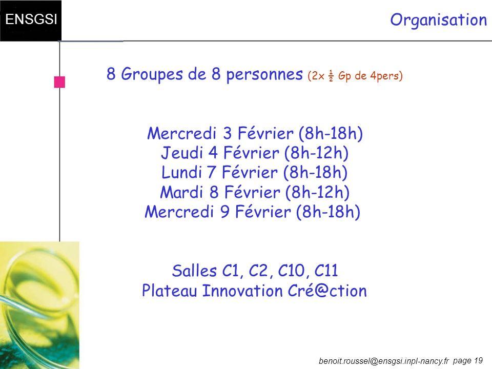 8 Groupes de 8 personnes (2x ½ Gp de 4pers)