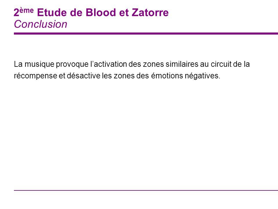 2ème Etude de Blood et Zatorre Conclusion