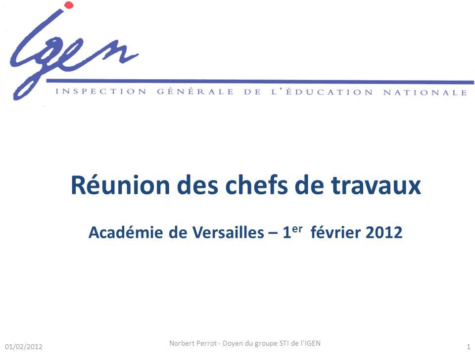Réunion des chefs de travaux Académie de Versailles – 1er février 2012