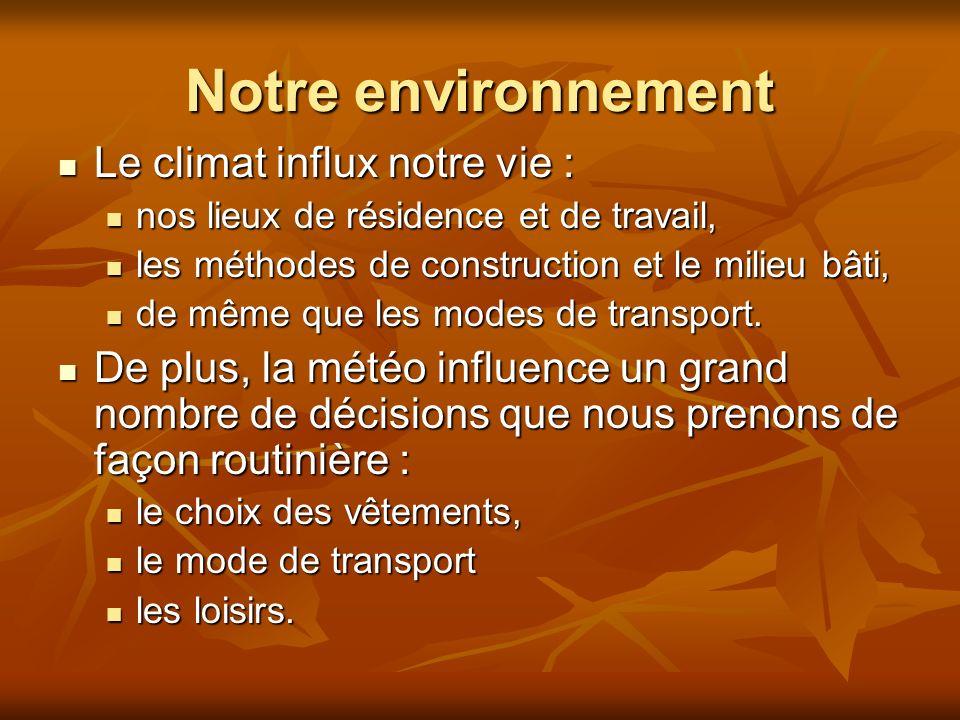Notre environnement Le climat influx notre vie :