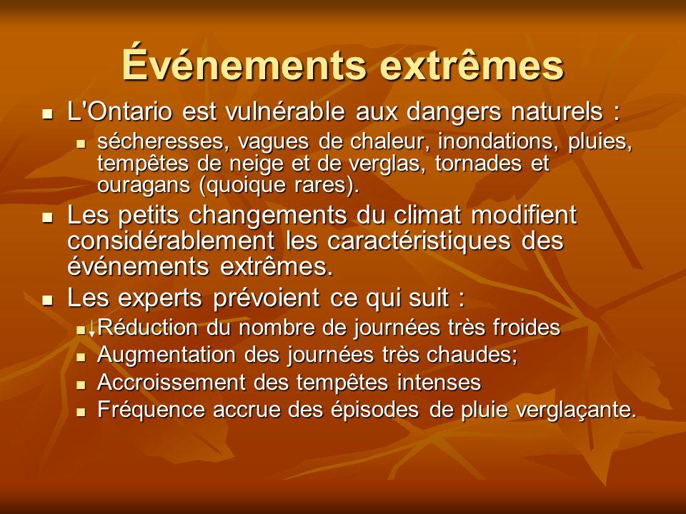 Événements extrêmes L Ontario est vulnérable aux dangers naturels :