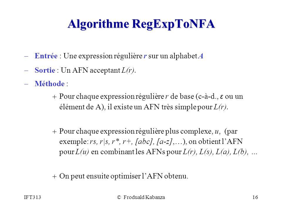Algorithme RegExpToNFA