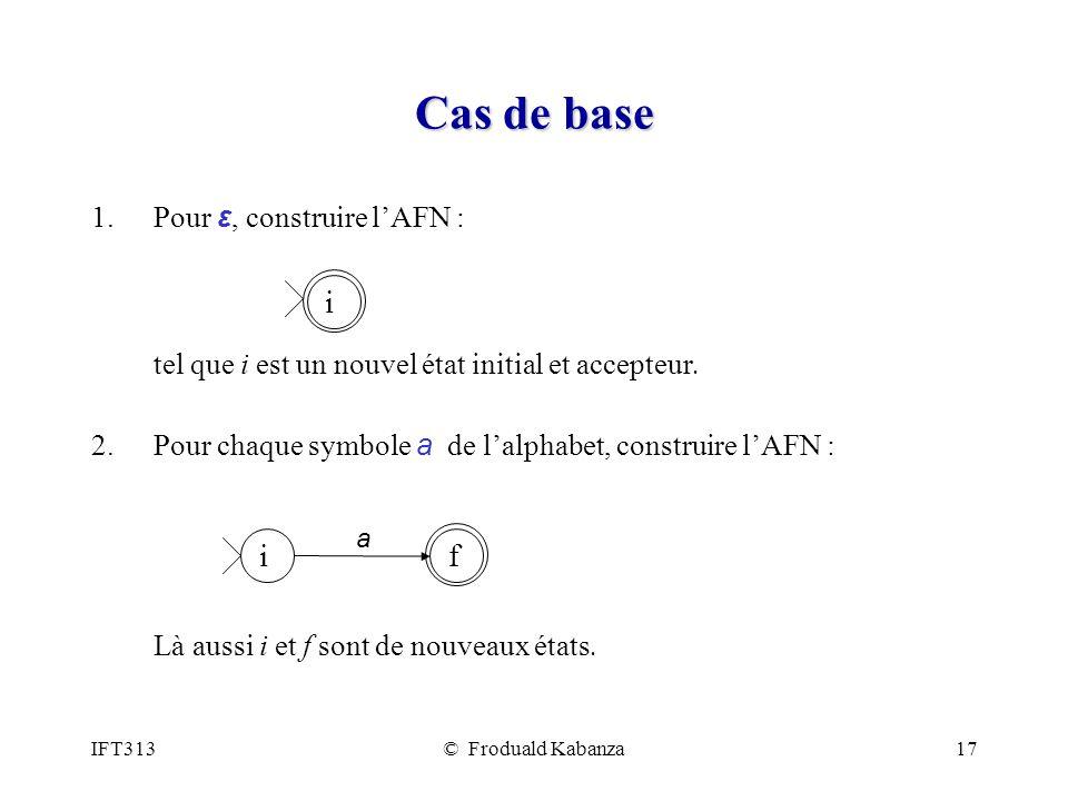 Cas de base i i f Pour ε, construire l'AFN :