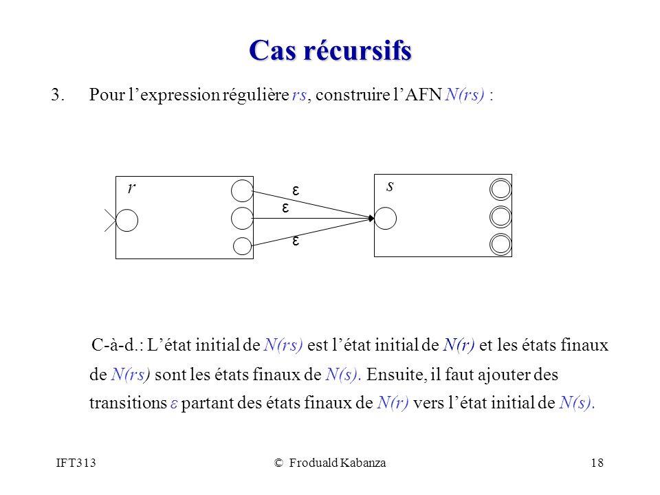 Cas récursifs Pour l'expression régulière rs, construire l'AFN N(rs) :