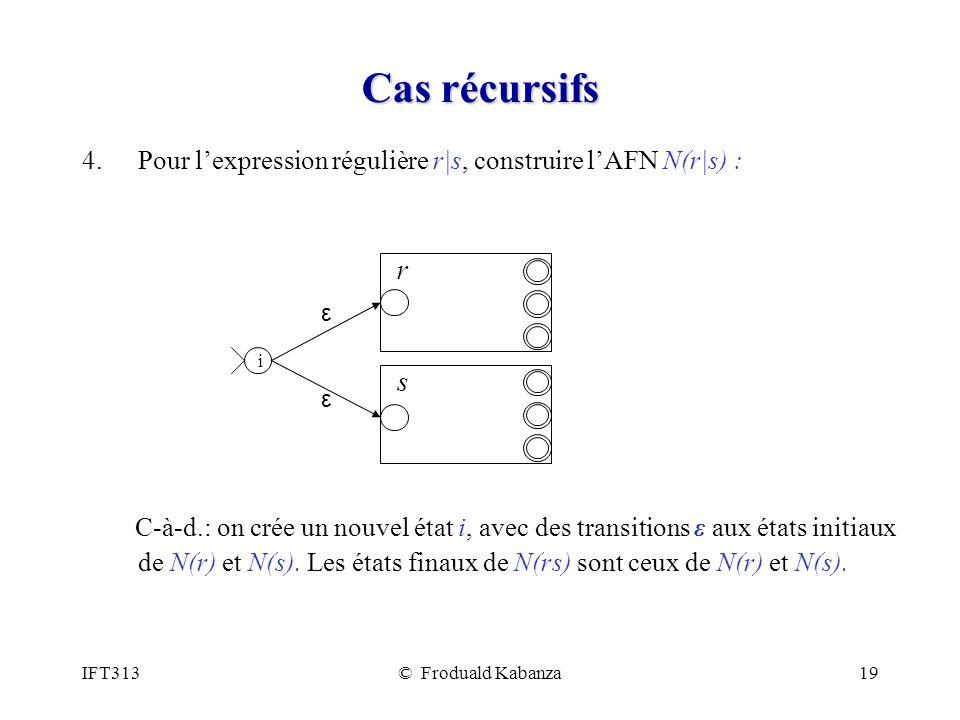 Cas récursifs Pour l'expression régulière r|s, construire l'AFN N(r|s) :