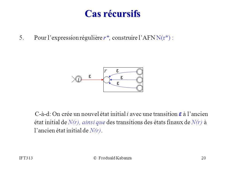 Cas récursifs Pour l'expression régulière r*, construire l'AFN N(r*) :
