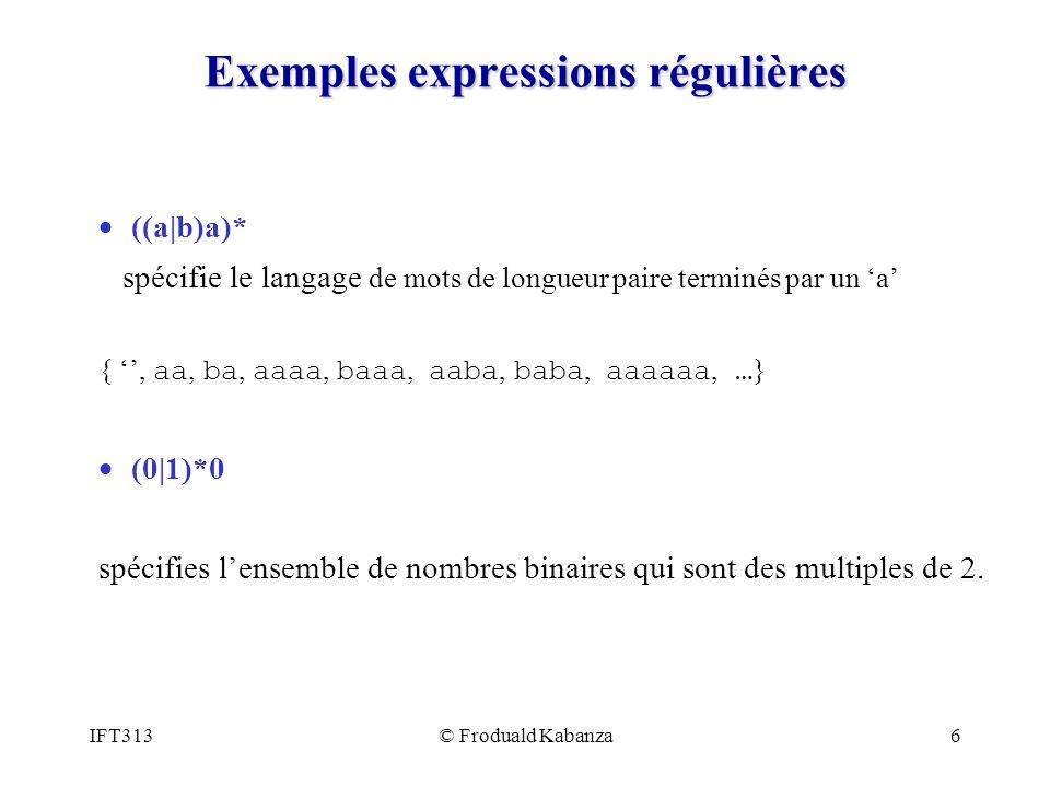 Exemples expressions régulières