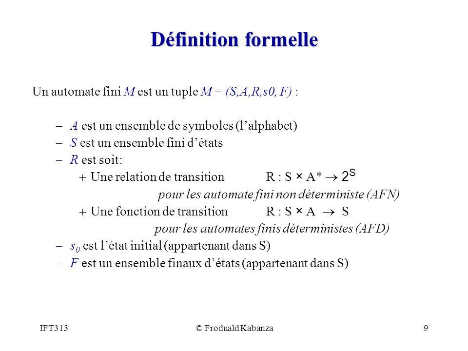 Définition formelle Un automate fini M est un tuple M = (S,A,R,s0, F) : A est un ensemble de symboles (l'alphabet)