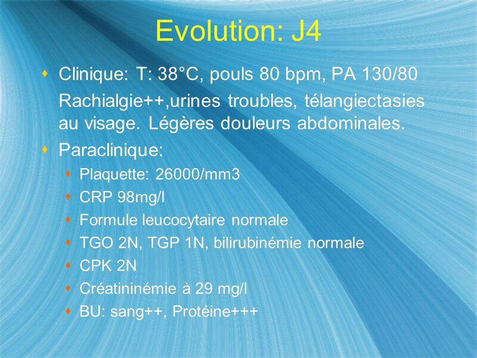 Evolution: J4 Clinique: T: 38°C, pouls 80 bpm, PA 130/80