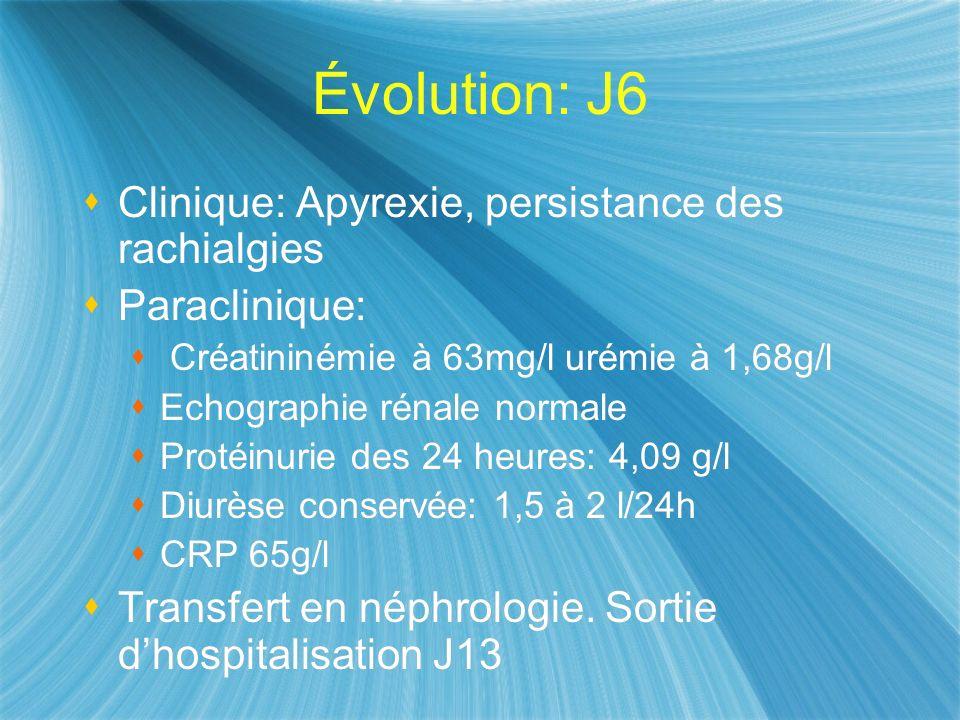 Évolution: J6 Clinique: Apyrexie, persistance des rachialgies