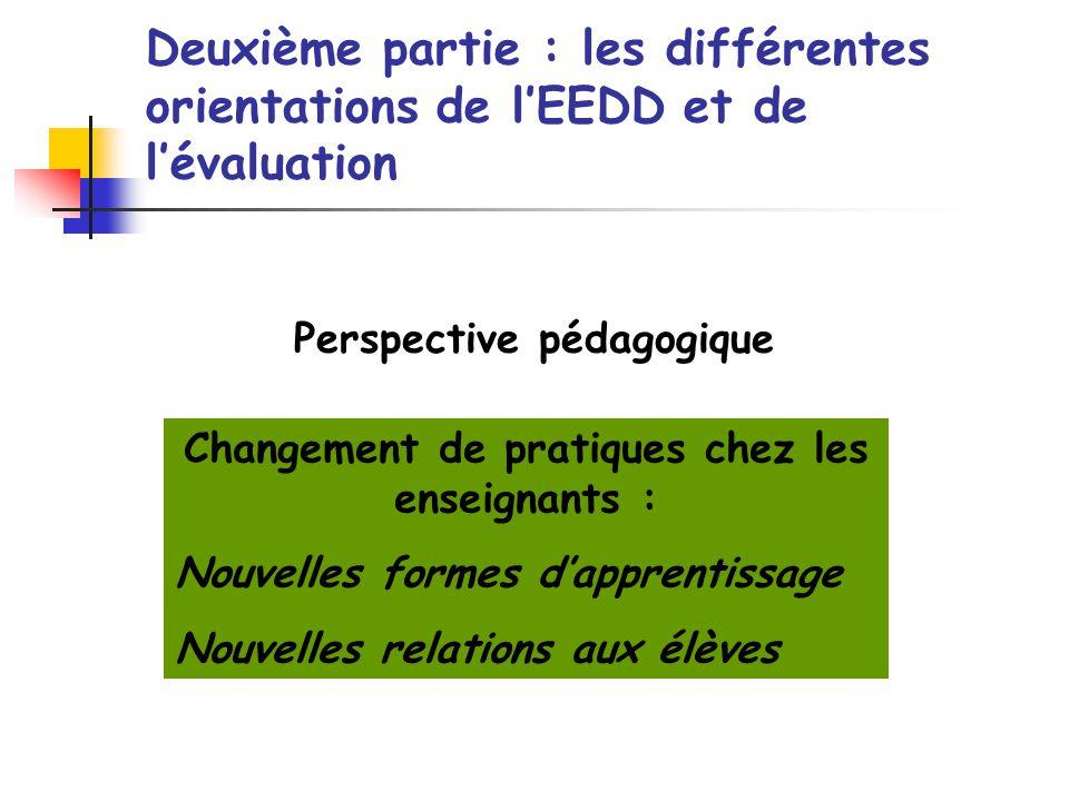 Perspective pédagogique Changement de pratiques chez les enseignants :