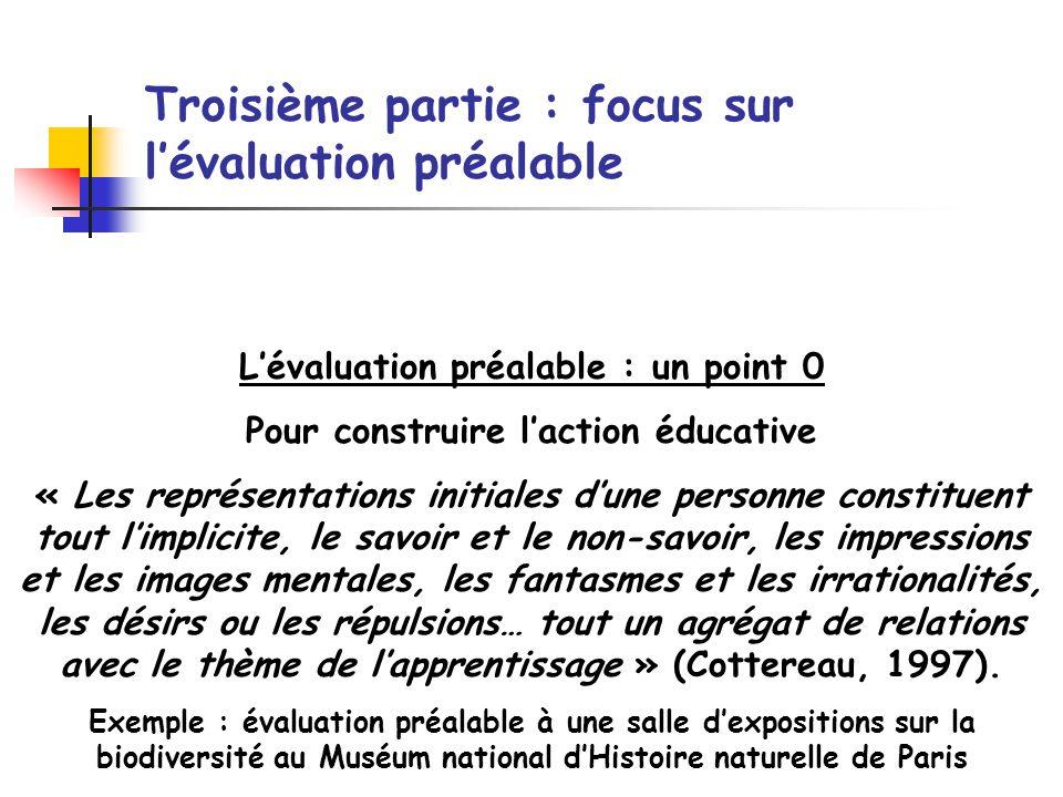 Troisième partie : focus sur l'évaluation préalable
