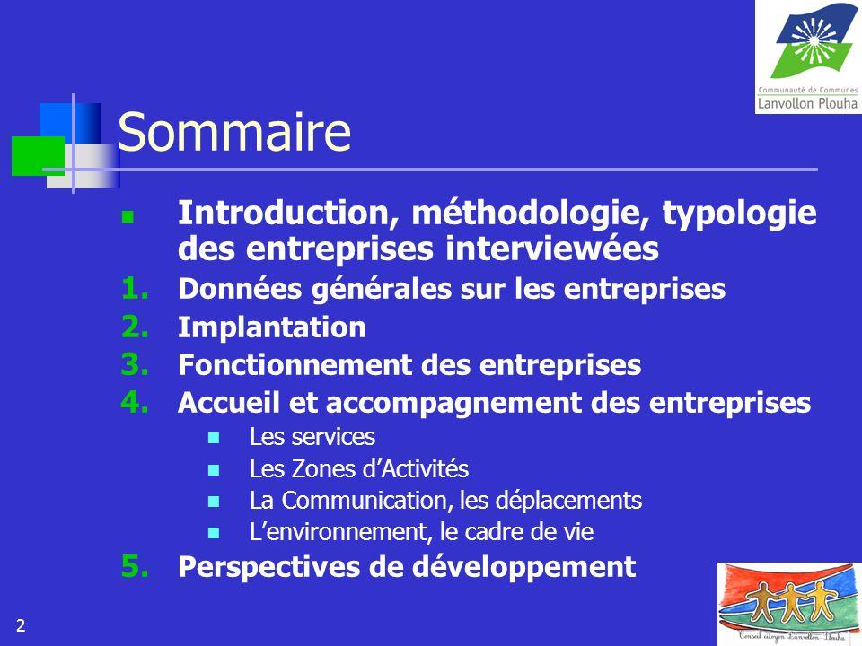 Sommaire Introduction, méthodologie, typologie des entreprises interviewées. Données générales sur les entreprises.