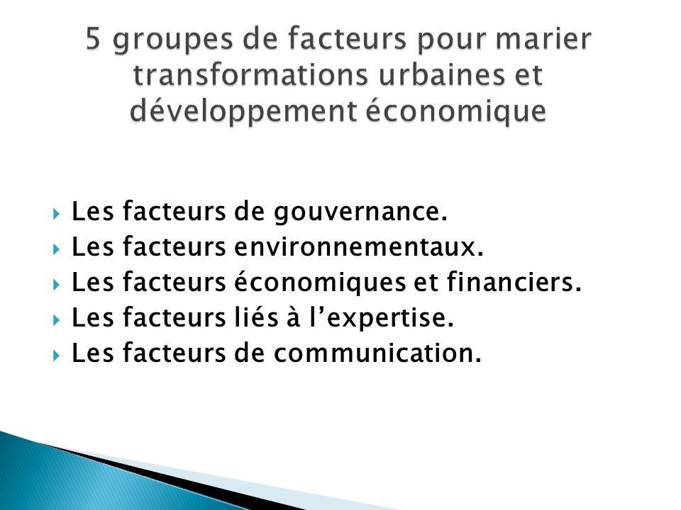5 groupes de facteurs pour marier transformations urbaines et développement économique