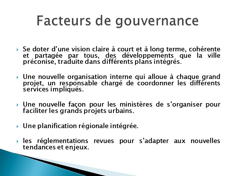 Facteurs de gouvernance