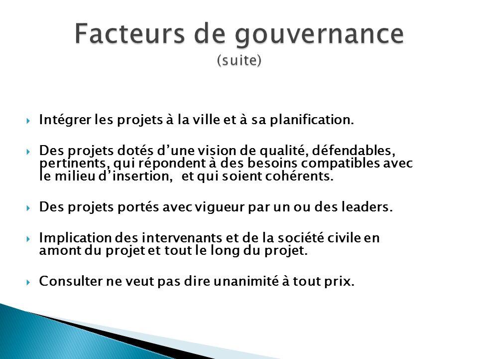 Facteurs de gouvernance (suite)