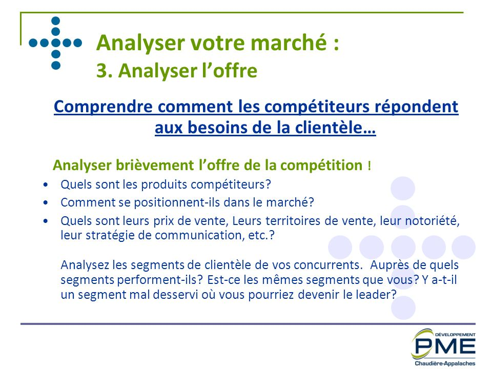 Analyser votre marché : 3. Analyser l'offre