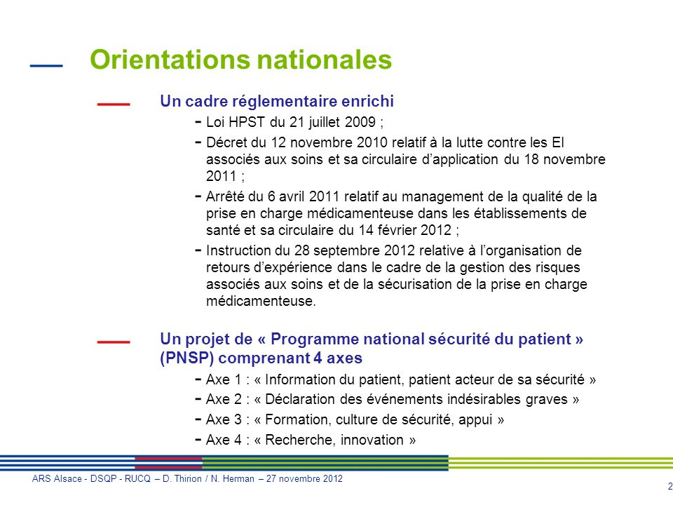 Orientations nationales